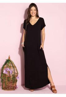 Vestido Longo Soltinho Com Fenda Preto