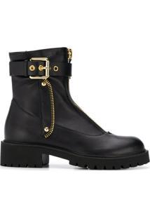 Giuseppe Zanotti Design Ankle Boot De Couro - Preto
