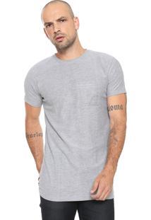 Camiseta Fiveblu Manga Curta Com Bolso Cinza