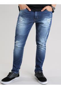 Calça Jeans Carrot Destroyed Com Algodão + Sustentável Azul Médio