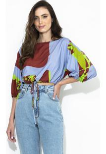 Blusa De Viscose Estampada Azul