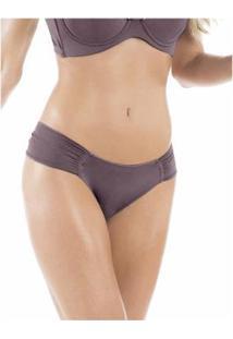 Calcinha Conforto Em Microfibra Drapeada Com Proteção Permanente - Feminino-Lilás