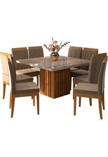 Conjunto De Mesa Para Sala De Jantar Ana Com 8 Cadeiras Alice-Cimol - Savana / Offwhite / Joli
