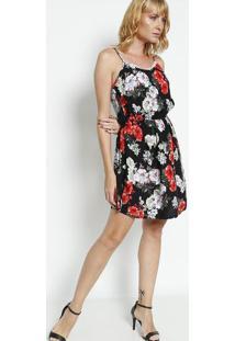 Vestido Floral Com Renda- Preto & Vermelho- Bhlbhl