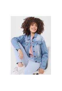 Jaqueta Jeans Hering Destroyed Azul