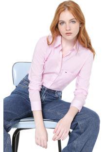 Camisa Tommy Jeans Poplin Rosa/Branca