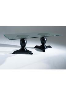 Mesa De Jantar Inspiração Tampo De Vidro Com 2 Bases Madeira Maciça Design Clássico Avi Móveis