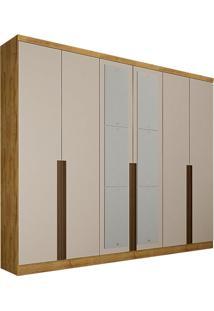 Guarda-Roupa Casal Com Espelho 6 Portas E 6 Gavetas Macau-Novo Horizonte - Freijo Dourado / Off White