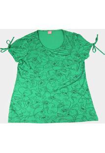 Blusa Wee! Plus Size Flores Laço Feminina - Feminino-Verde