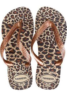 Chinelo Havaianas Top Animals Feminina - Feminino-Onça