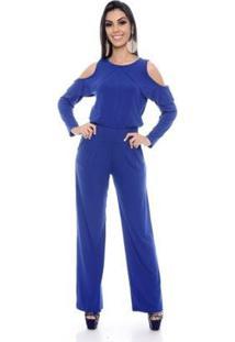 Macacão B'Bonnie Pantalona Ombro Feminino - Feminino-Azul