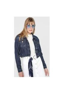 Jaqueta Jeans Forever 21 Estonada Azul-Marinho