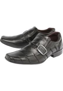 Sapato Couro Clauss Metalizado Preto