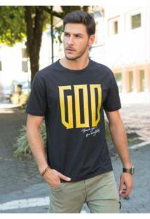 Camiseta Preta Com Estampa Em Foil Dourado