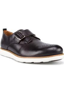 Sapato Masculino Fechamento Com Fivela Couro Preto