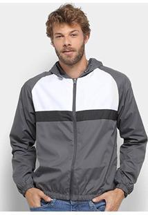 Jaqueta Corta Vento John Taylor Listrada C/ Capuz Masculina - Masculino-Branco+Preto