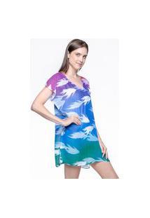 Blusa 101 Resort Wear Saida De Praia Estampada Crepe Decote V Tie Dye