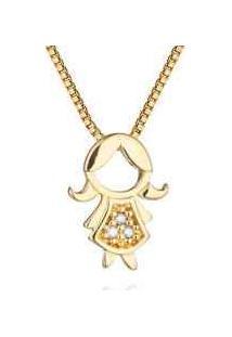 Pingente Menina Vestido Longo Ouro Amarelo E Diamantes 10 Mm