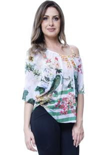 Blusa 101 Resort Wear Tunica Ombro A Ombro Floral Branca