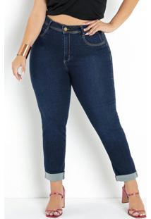 Calça Jeans Cropped Com Bolsos Sawary Plus Size