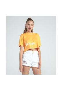 Blusa Cropped Manga Curta Estampa Can'T Stop The Feelings | Blue Steel | Amarelo | G