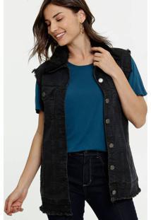 Colete Feminino Alongado Pelúcia Uber Jeans