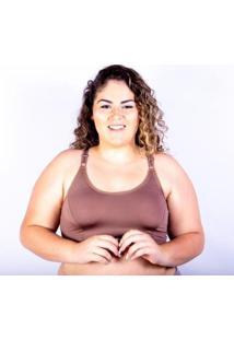Sutiã Top Plus Size Gatria Reforçado Satin Feminino - Feminino-Marrom