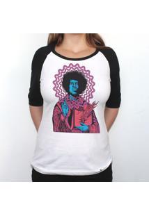 Jimi Hendrix - Camiseta Raglan Manga Longa Feminina