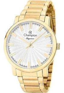 Kit Relógio Champion Feminino Dourado Analógico + Colar E Brincos Cn26037W - Feminino