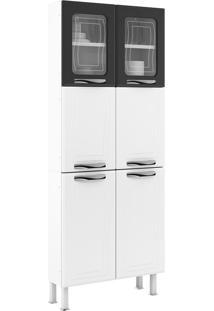 Paneleiro 6 Portas (2 Com Vidro) Ipanema Master - Colormaq - Branco / Preto