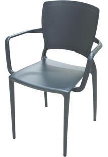 Cadeira Com Braco Sofia Encosto Fechado Cor Grafite - 26277 - Sun House