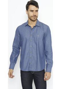Camisa Slim Fit Geomã©Trica Com Bordado- Azul Escuro & Azvip Reserva