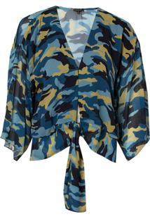 Blusa Le Lis Blanc Beatriz Estampado Feminina (Camuflado Azul Dusk, 34)