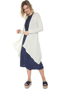 Maxi Cardigan Mercatto Canelado Off-White