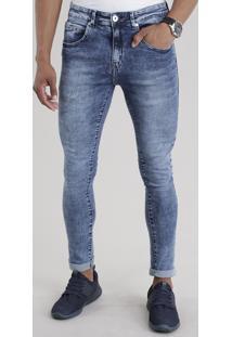 Calça Jeans Super Skinny Marmorizada Com Algodão + Sustentável Azul Médio