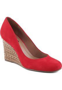 Sapato Anabela Com Salto Texturizado- Vermelho & Marrom