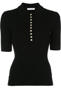 Proenza Schouler White Label Camisa Polo Mangas Curtas Canelada - Preto