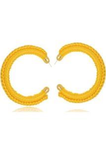 Argola Le Diamond De Tecido Crochê Feminina - Feminino-Amarelo