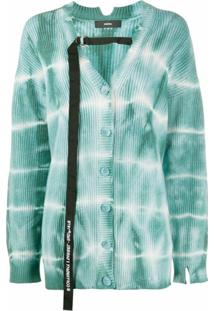 Diesel Cardigan Tie-Dye Com Detalhe De Logo - Verde