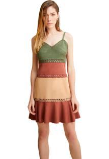Vestido Alphorria Tricolor Marrom