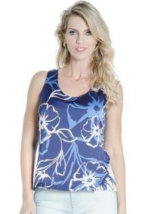 Blusa Regata Estampada Lucidez - Feminino-Azul