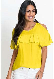 Blusa Ombros Vazados Com Babados Amarelo Limão