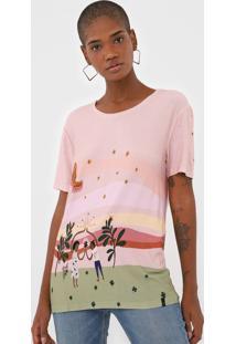 Camiseta Cantã£O Fortuna Rosa/Verde - Rosa - Feminino - Viscose - Dafiti