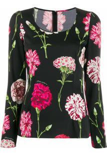 Dolce & Gabbana Blusa Floral Com Decote Em U - Preto