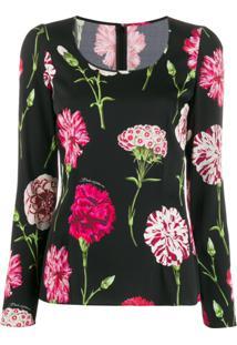 Dolce & Gabbana Scoop Neck Floral Print Blouse - Preto