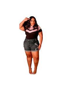 Short Jeans Plus Size Elastano Modela Bumbum Escuro Preto