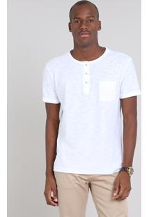 Camiseta Masculina Com Bolso E Botões Manga Curta Gola Careca Off White