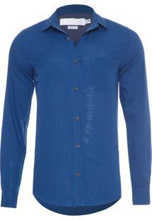 Camisa Masculina Vichy Maquinetada - Azul