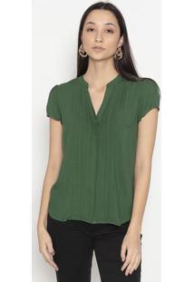 Blusa Com Pregas- Verde Escurovip Reserva