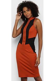Vestido Acostamento Tubinho Curto Geométrico - Feminino-Laranja Escuro